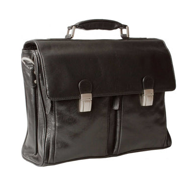 HIDEONLINE BLACK ITALIAN LEATHER LAPTOP BRIEFCASE