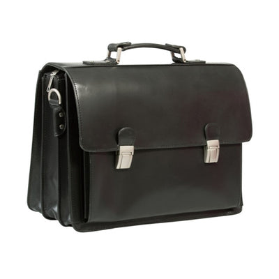 "HIDEONLINE BLACK ITALIAN LEATHER 15"" LAPTOP BRIEFCASE"