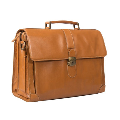 "HIDEONLINE ELEGANT & LUXURIOUS ITALIAN TAN REAL LEATHER 17"" BRIEFCASE"