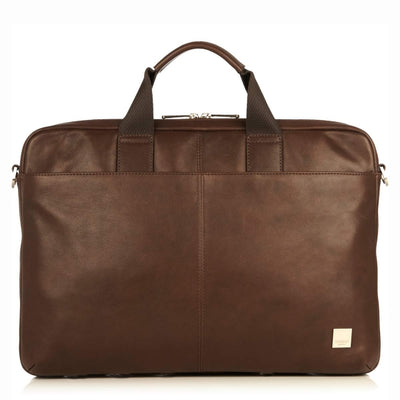 KNOMO DURHAM BROWN REAL LEATHER SLIM BRIEFCASE LAPTOP BAG