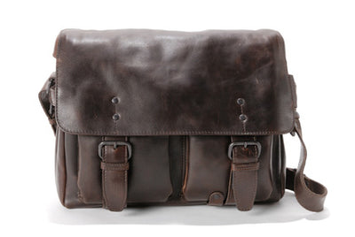 AUNTS & UNCLES EARLYBIRD HUMUS LEATHER MEDIUM E/W MESSENGER BAG/ POSTBAG