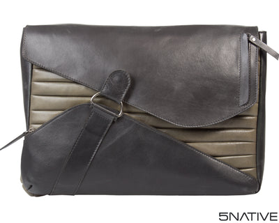 5NATIVE BLACK AND GREY EAST WEST LEATHER MESSENGER BAG