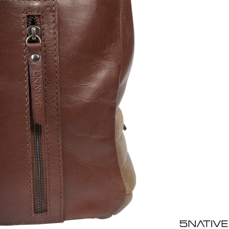 5NATIVE BROWN AND OLIVE EAST WEST LEATHER MESSENGER BAG
