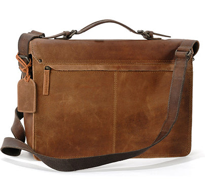 AUNTS & UNCLES FELLA COFFEE / BROWN LEATHER LARGE BUSINESS BAG
