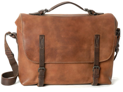 AUNTS & UNCLES FELLA HAZELNUT / TAN LEATHER LARGE BUSINESS BAG