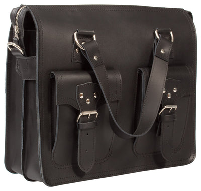 HIDEONLINE BLACK REAL LEATHER LARGE UNISEX BUSINESS BAG / SHOULDER BAG