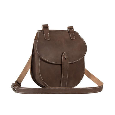 SAHARA LEATHER MUD BROWN CRAZY HORSE LADIES SMALL CROSSOVER BAG