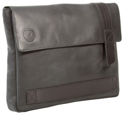 UBERBAG GREY BLACK LEATHER MILITARY MEN CLUTCH