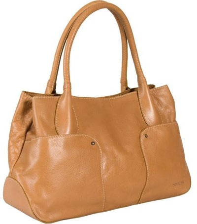 DEPECHE REAL LEATHER LIGHT TAN LARGE SHOULDER BAG / TOTE / WORKBAG