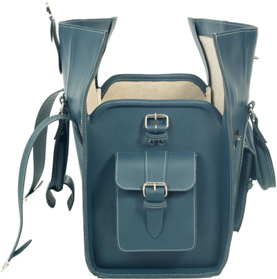 PETROL BLUE VINTAGE THICK REAL LEATHER HOLDALL / DUFFLE / CABIN BAG WITH THICK CANVAS LINING