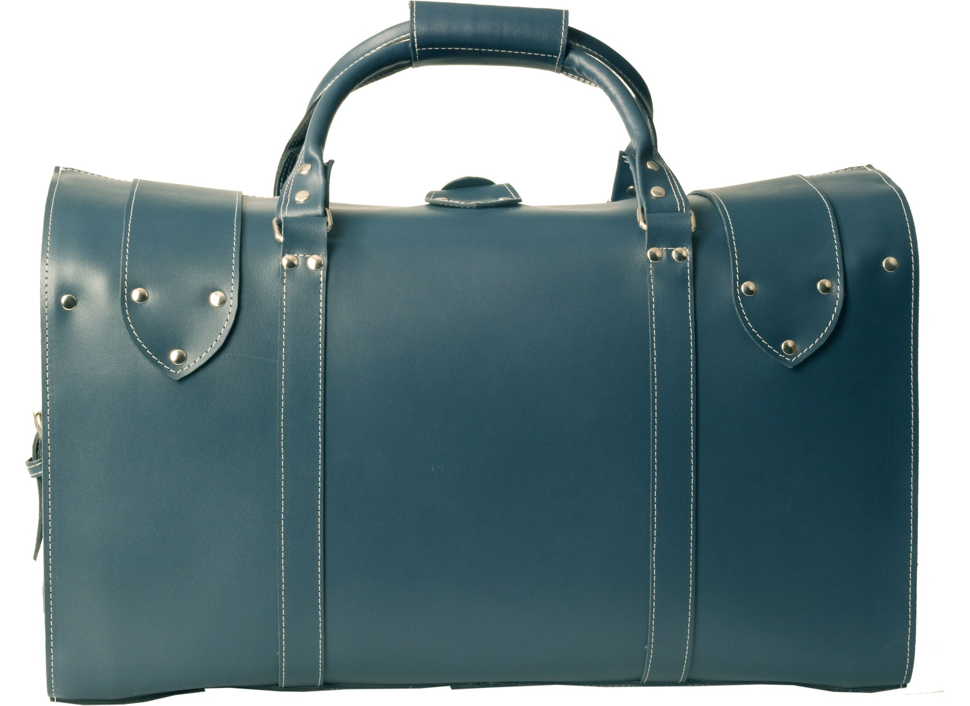 81111d6e37 PETROL BLUE VINTAGE THICK REAL LEATHER HOLDALL   DUFFLE   CABIN BAG WITH  THICK CANVAS LINING