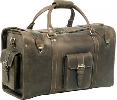 OXFORD MUD BROWN VINTAGE CRAZY HORSE REAL LEATHER HOLDALL / DUFFLE / CABIN BAG
