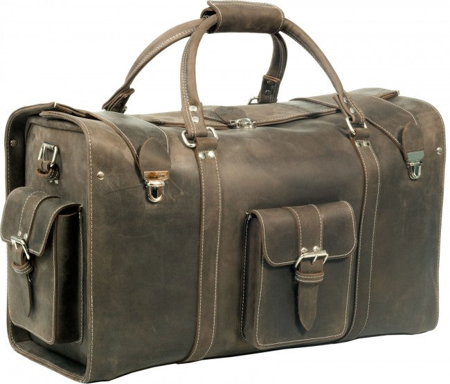 1f6fd20a55 OXFORD MUD BROWN VINTAGE CRAZY HORSE REAL LEATHER HOLDALL   DUFFLE   CABIN  BAG