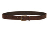 CASUAL MEN'S BELT MADE FROM DARK BROWN REAL LEATHER IN CRISS CROSS PATTERN