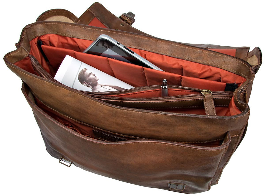 JOST RANGER 2443 COGNAC LEATHER LAPTOP BRIEFCASE