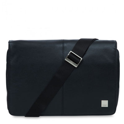 KNOMO KINSALE BLACK REAL LEATHER SLIM CROSS BODY MESSENGER