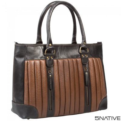 5NATIVE BROWN AND TAN LADIES LEATHER WORKBAG/ SHOULDER BAG