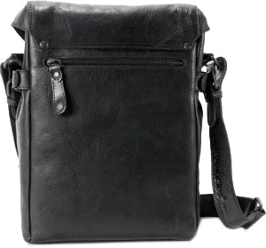 AUNTS & UNCLES NETWORKER BLACK LEATHER MEDIUM N/S MESSENGER BAG/ POSTBAG