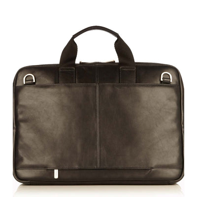 KNOMO NEWBURY BLACK SINGLE ZIP REAL LEATHER BRIEFCASE LAPTOP BAG