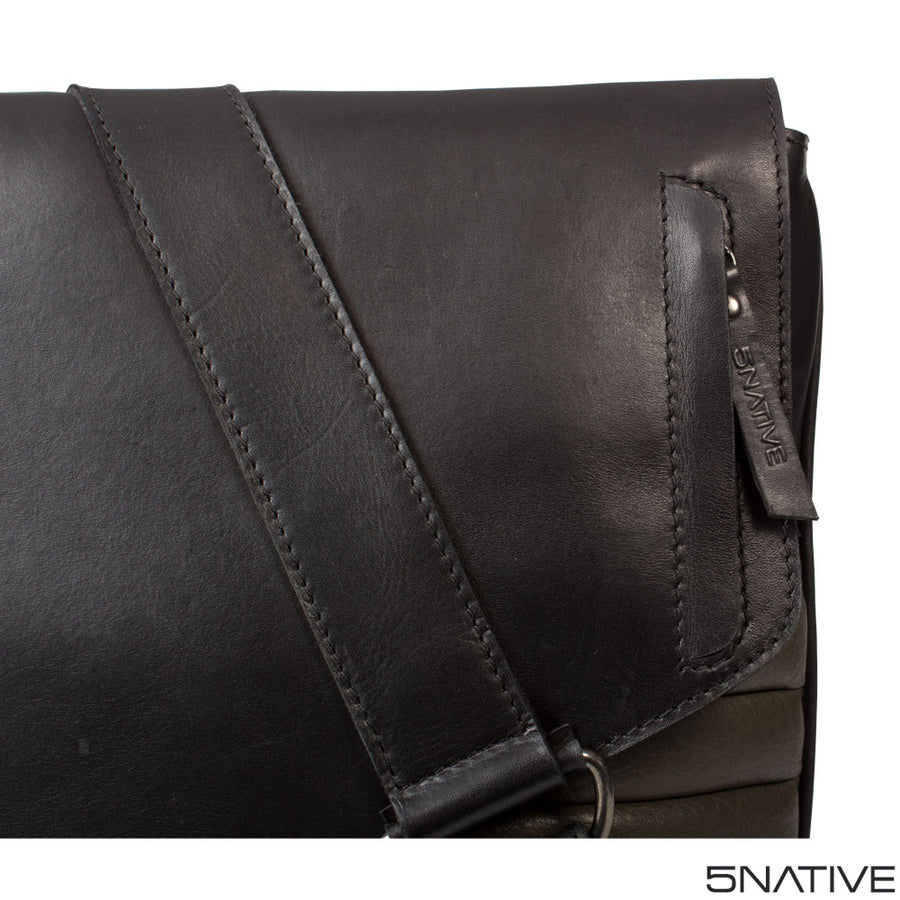 5NATIVE BLACK AND GREY NORTH SOUTH LEATHER MESSENGER BAG