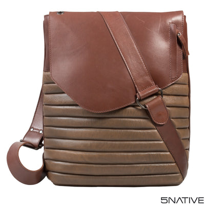 5NATIVE BROWN AND OLIVE NORTH SOUTH LEATHER MESSENGER BAG