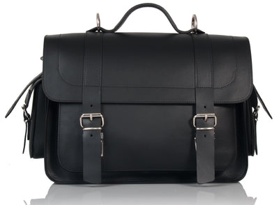 PIMLICO NATURAL VEGETABLE TANNED BLACK LEATHER SATCHEL / BACKPACK