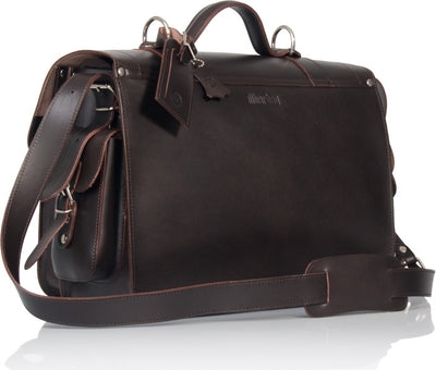 PIMLICO NATURAL VEGETABLE TANNED DARK BROWN LEATHER SATCHEL / BACKPACK