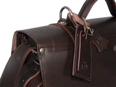 FREE MATCHING UBERBAG CLUTCH WORTH £119 WITH PIMLICO VEGETABLE TANNED BROWN LEATHER SATCHEL / BACKPACK