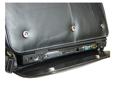 "HIDEONLINE PATENT REAL LEATHER BLACK 15"" LAPTOP CASE"
