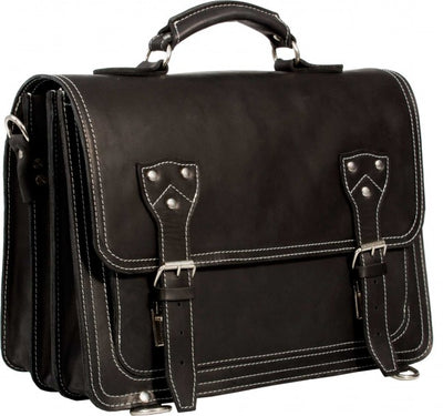HIDEONLINE BLACK CRAZY HORSE LEATHER SATCHEL BAG / BRIEFCASE / BACKPACK