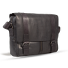 UBERBAG GREY BLACK  LEATHER MILITARY MESSENGER / MAN BAG