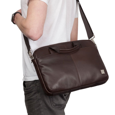 KNOMO STANFORD BROWN REAL LEATHER BRIEFCASE LAPTOP BAG