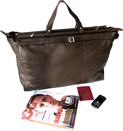 DARK BROWN BROWN LEATHER TOP ROD HOLDALL / DUFFLE / CABIN BAG