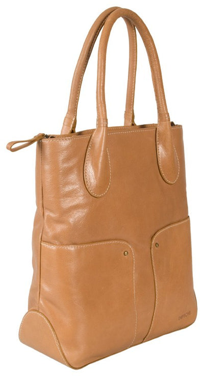 DEPECHE REAL LEATHER LIGHT TAN LARGE TOTE / WORKBAG