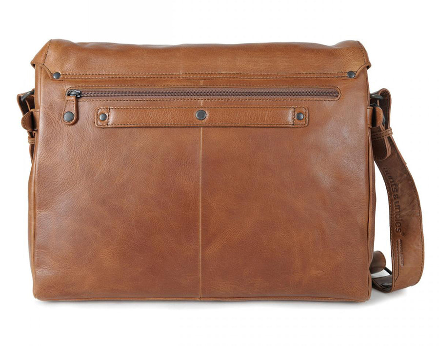 AUNTS & UNCLES WORKAHOLIC TAN/OAK LEATHER LARGE E/W MESSENGER BAG/ POSTBAG