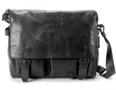 AUNTS & UNCLES WORKAHOLIC BLACK LEATHER LARGE E/W MESSENGER BAG/ POSTBAG