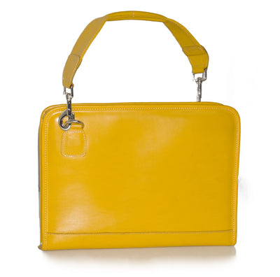 TRENDY YELLOW REAL LEATHER FOLDER BAG