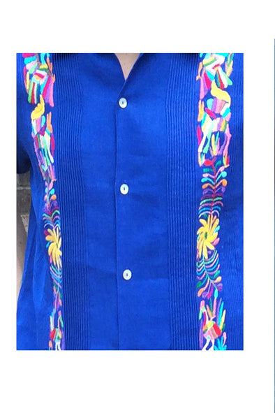 Guayabera with Otomi Multi Embroidery - Royal with Multi