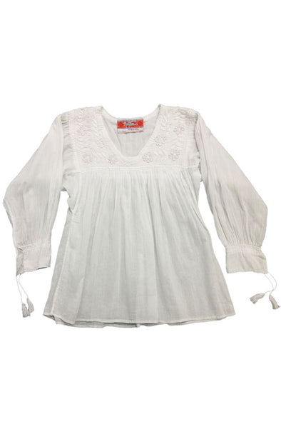 V Neck Blouse in White - Multiple Embroidery Colors & Sizes