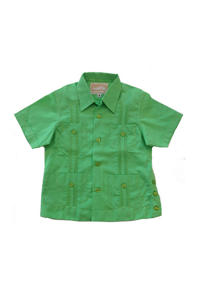 Boys Lime Guayabera - Sizes 2-8 Available