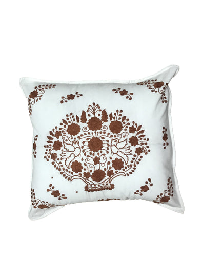 Pillow- Puebla Embroidered - White Burnt Orange