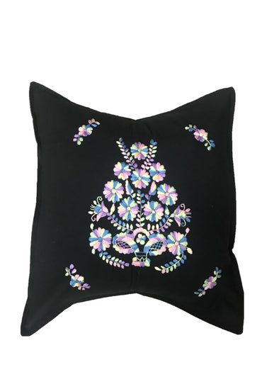 Pillow- Puebla Embroidered - Black Pastel