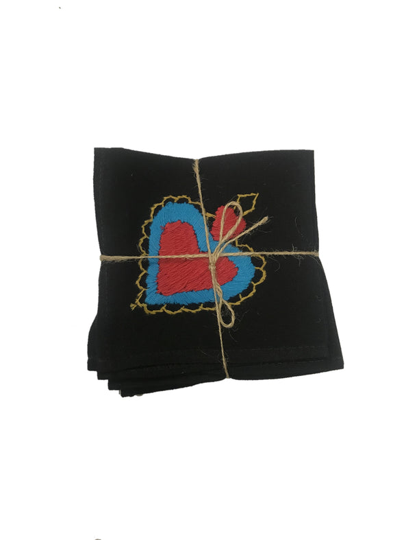 Cocktail Napkins -Set of 6- Black/Hearts