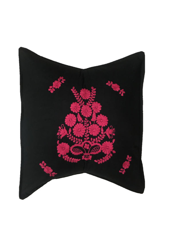 Last Chance!! Pillowcase- Puebla Embroidered - Black Fuschia