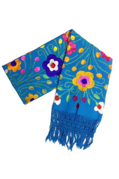 Acatlan Rebozo - Turquoise with Multi