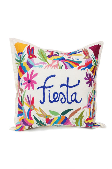 "Otomi Embroidered Pillow - ""Fiesta"""
