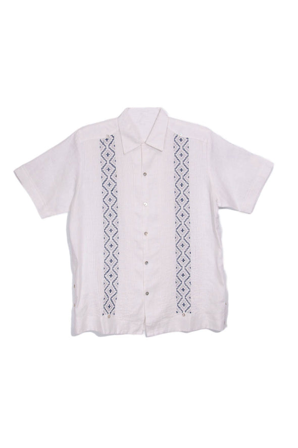 Codice Guayabera - White with Navy Embroidery