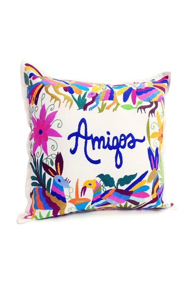 "Otomi Embroidered Pillow - ""Amigos"""