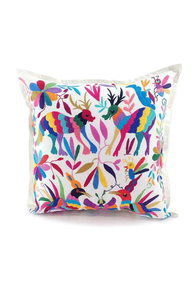 Pillow - Otomi Embroidered - Natural with Multi