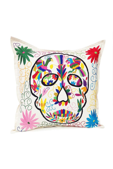 "Pillowcase - Otomi Embroidered - ""Calavera"" Sugar Skull in Natural"